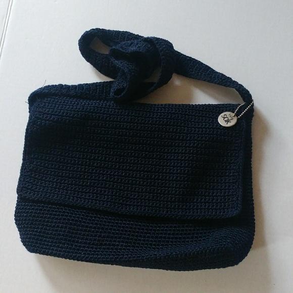 9d08f917a2f8 Classic Navy Blue Crochet Flap Over Medium Sak Bag.  M 5b1089919d20f036645c8fc7